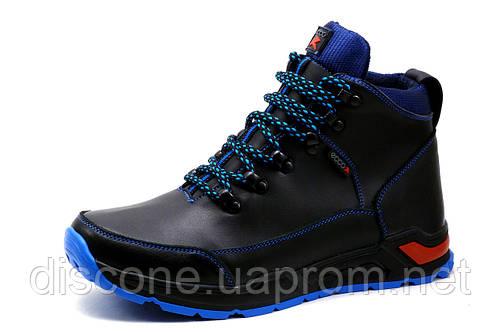 Мужские кроссовки зимние, высокие, на меху, натуральная кожа, черные с синим, р. 40