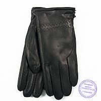 Мужские кожаные (матовая кожа) перчатки зимние на сером шерстяном меху - №M30-2