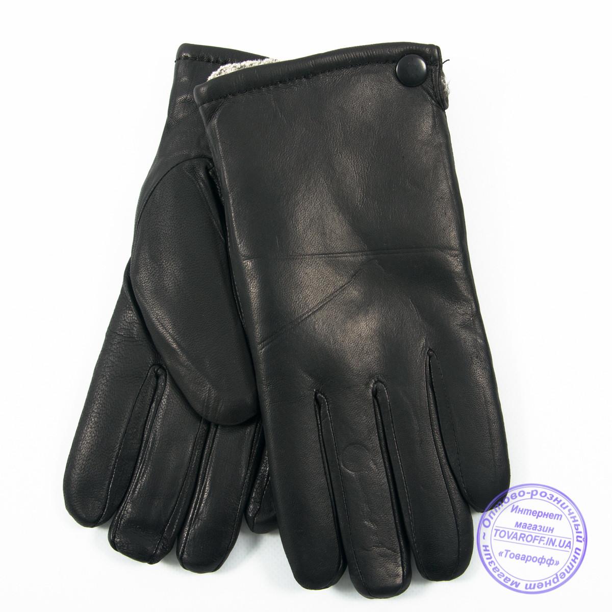 Мужские кожаные (матовая кожа) перчатки зимние на сером шерстяном меху - №M30-3