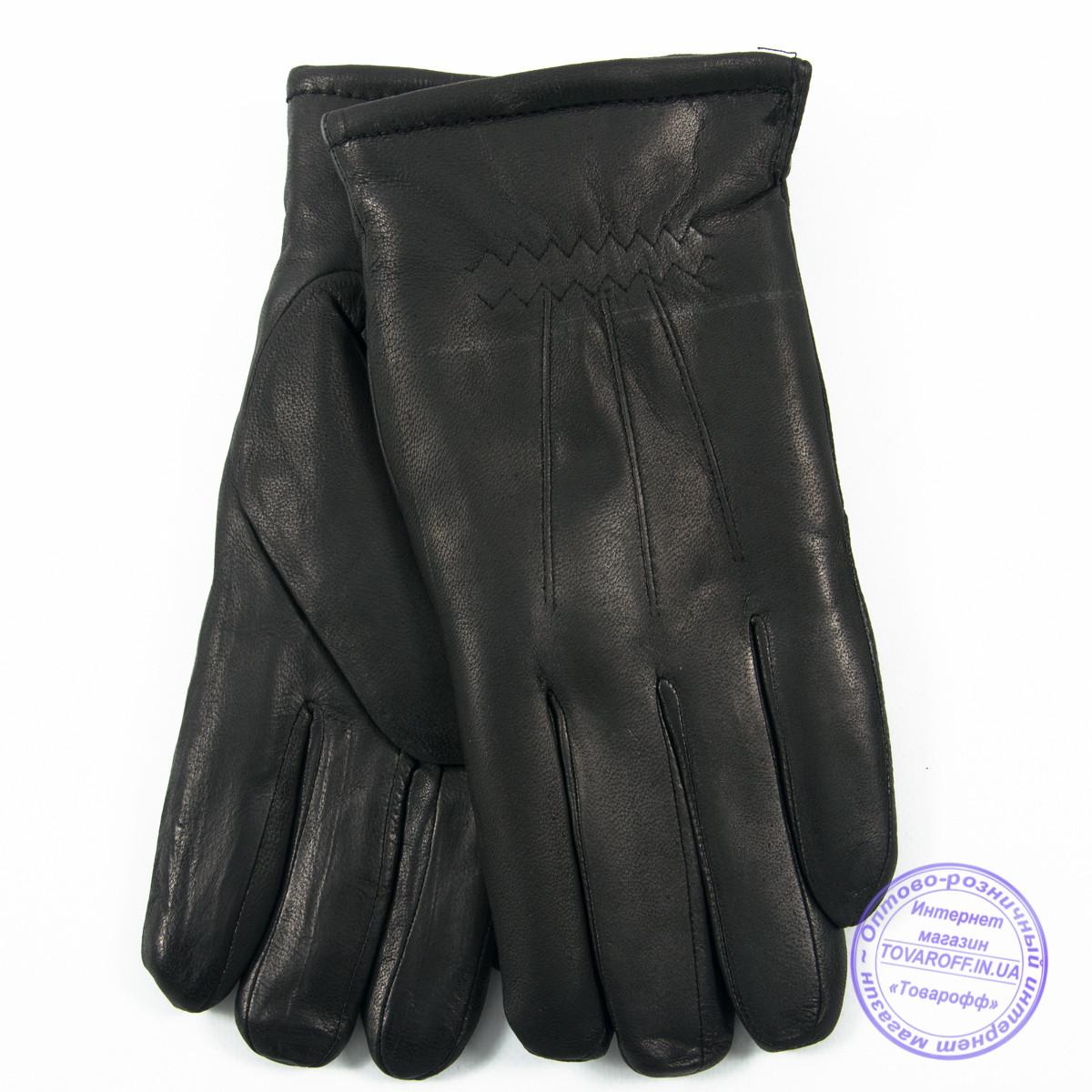 Мужские кожаные (матовая кожа) перчатки зимние на сером шерстяном меху - №M30-4
