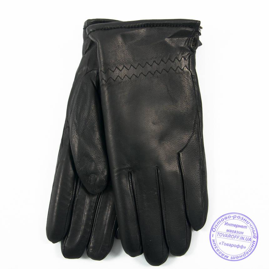 Оптом мужские кожаные (матовая кожа) перчатки зимние на сером шерстяном меху - №M30-2, фото 2