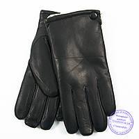 Оптом мужские кожаные (матовая кожа) перчатки зимние на сером шерстяном меху - №M30-3