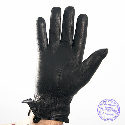 Мужские кожаные перчатки из оленьей кожи с шерстяной подкладкой - №M31-4, фото 2