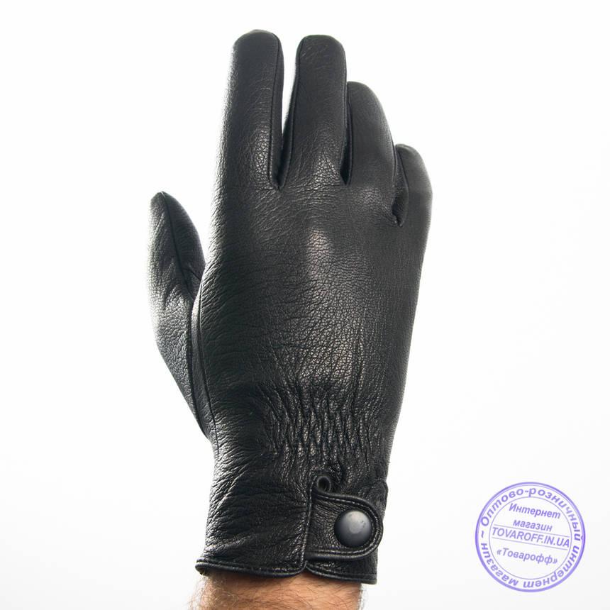 Оптом мужские кожаные перчатки из оленьей кожи с шерстяной подкладкой - №M31-3, фото 2