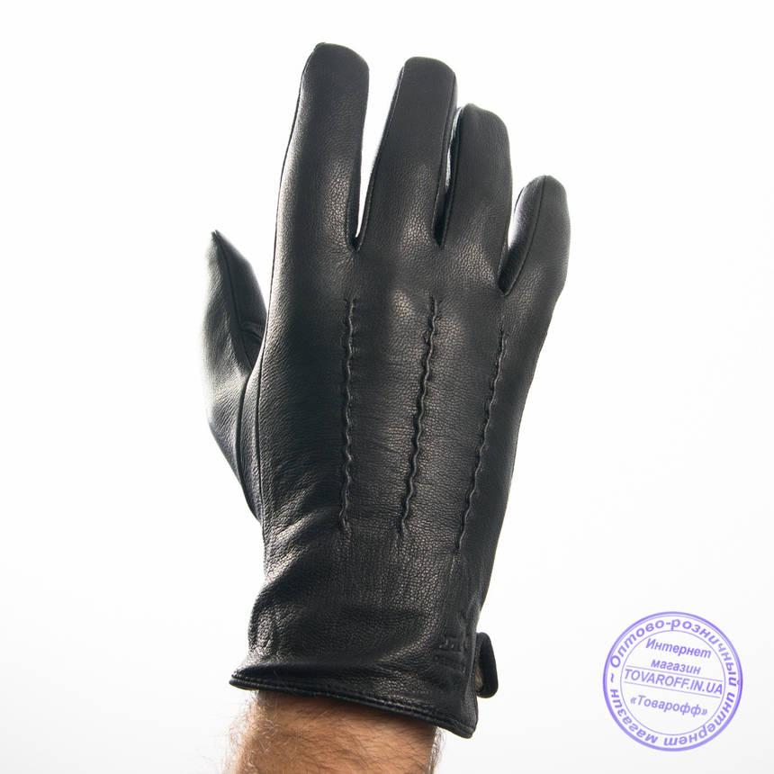 Оптом чоловічі шкіряні рукавички з оленячої шкіри з вовняної підкладкою - №M31-4, фото 2