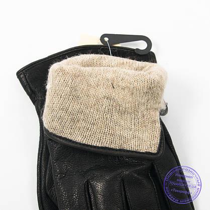 Оптом чоловічі шкіряні рукавички з оленячої шкіри з вовняної підкладкою - №M31-4, фото 3