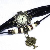 Женские оригинальные стрелочные кварцевые часы  с ремешком из натуральной кожи