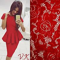 Женский стильный костюм из гипюра: баска и юбка (2 цвета), фото 1