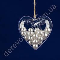 Сердце пластиковое прозрачное, 10 см