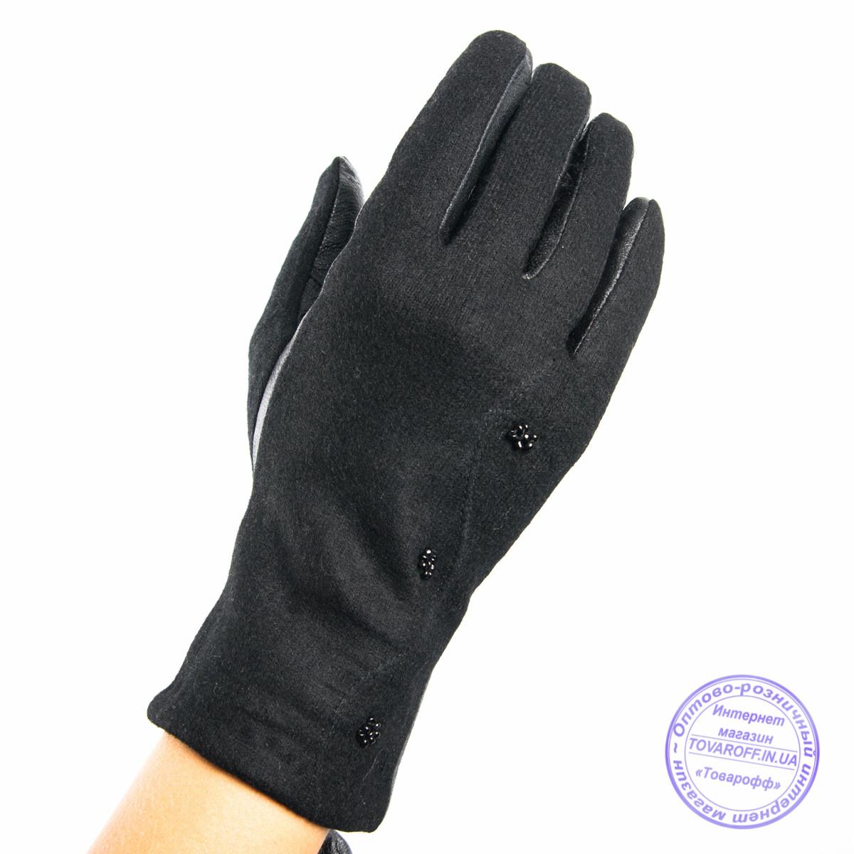 Оптом женские кашемировые перчатки с кожаной ладошкой с плюшевой подкладкой - №F4-8