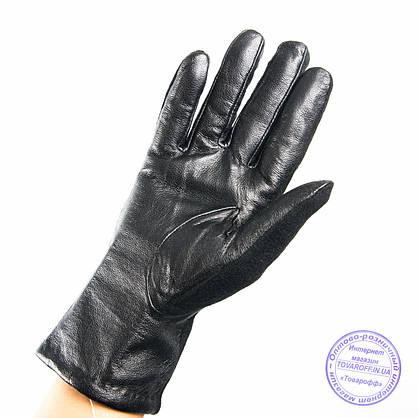 Оптом женские кашемировые перчатки с кожаной ладошкой с плюшевой подкладкой - №F4-8, фото 2