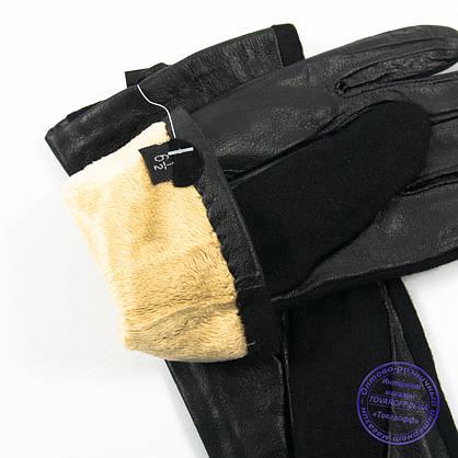 Оптом женские кашемировые перчатки с кожаной ладошкой с плюшевой подкладкой - №F4-8, фото 3