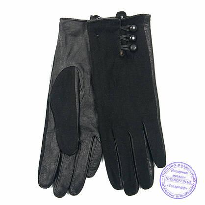 Оптом женские кашемировые перчатки с кожаной ладошкой с плюшевой подкладкой - №F4-10, фото 3