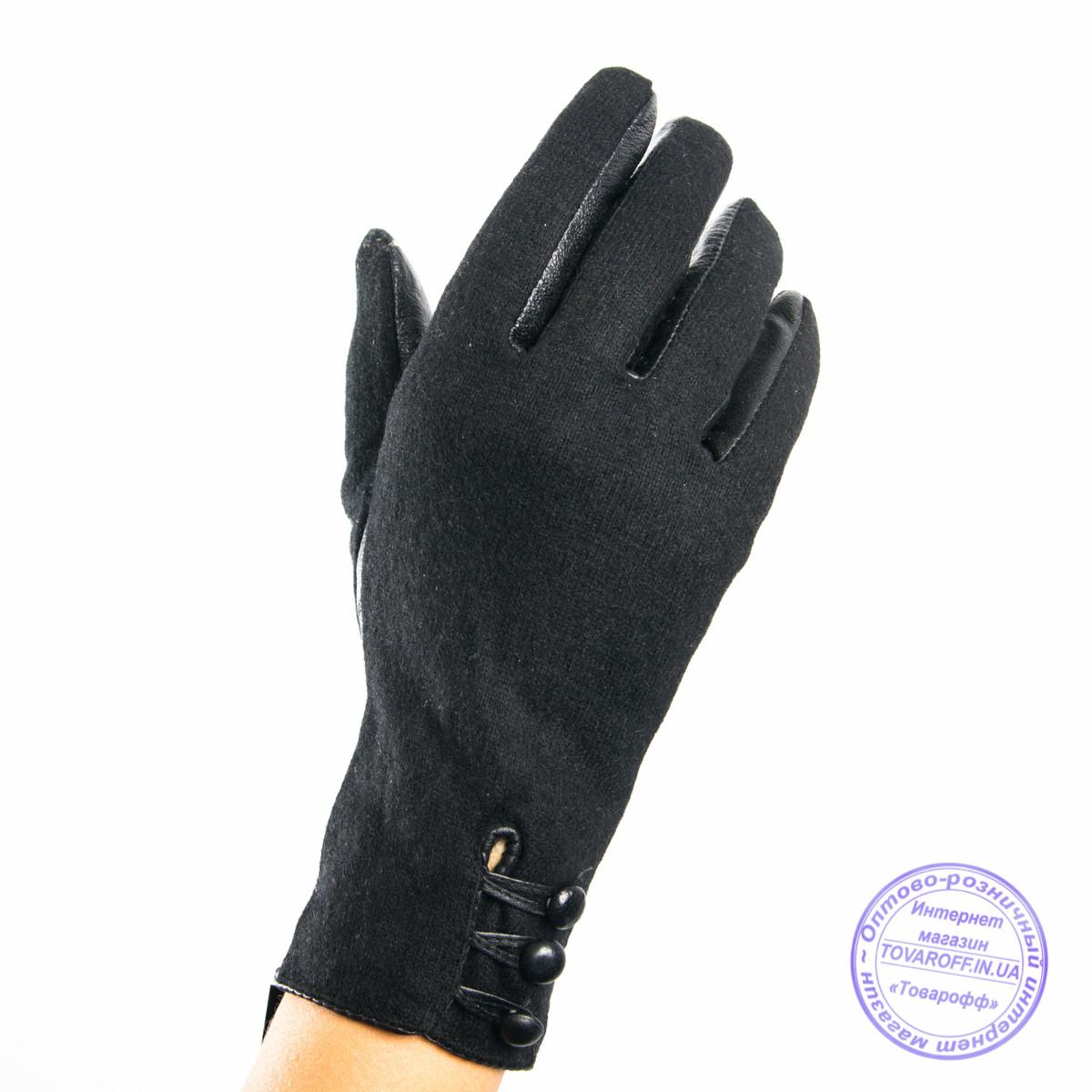 Оптом женские кашемировые перчатки с кожаной ладошкой с плюшевой подкладкой - №F4-10