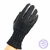Женские кашемировые перчатки с кожаной ладошкой с плюшевой подкладкой - №F4-3, фото 1