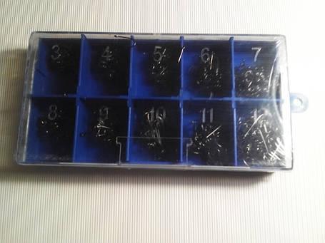 Крючки в наборе рыболовные разных размеров черные, фото 2