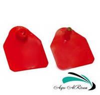 Ушная бирка для свиноматок и КРС, без номера,  4,5х5,0 см красная (двойная), фото 1