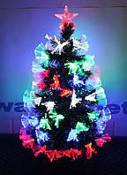 """Светящаяся оптоволоконная елка """"Снежинка"""" со снегом на кончиках 90 см. 7 режимов sv90"""