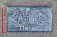 Плита чугунная 2 конфорки (41х71см)