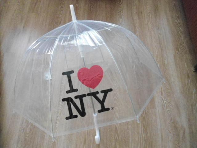 Зонт зонтик прозрачный трость, полуавтомат ILove NY