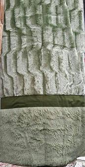 Покрывало на кровать меховое Норка 200х230 цвет оливковый