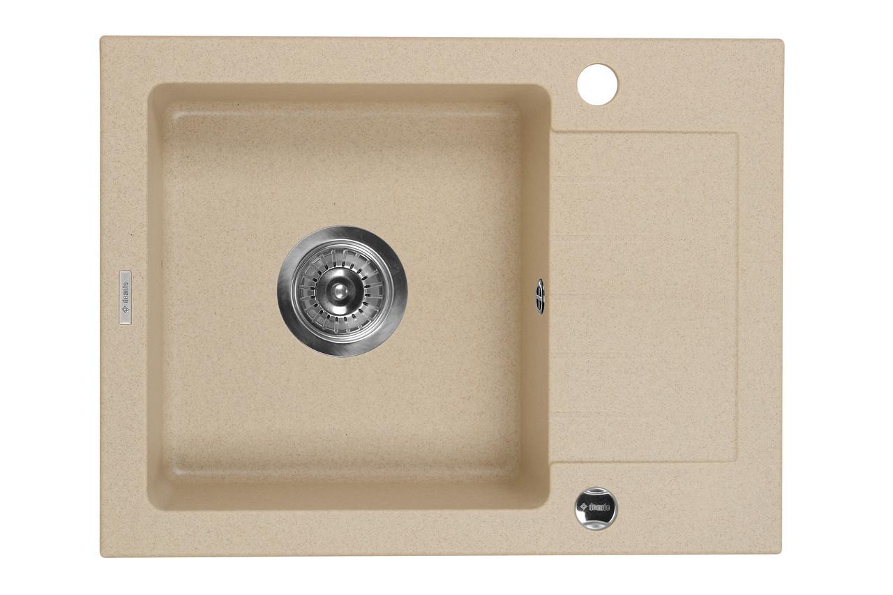 Мийка 1-камерна з полицею Deante ZORBA, пісочний граніт, 580х440х160 мм