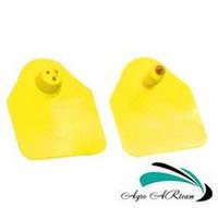 Ушная бирка для свиноматок и КРС, без номера,  4,5х5,0 см желтая (двойная), фото 1