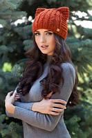 Женская зимняя шапка кошка