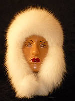 Меховая шапка - ушанка песец + кожа