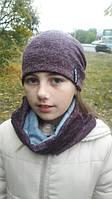 Модный набор из шапочки и хомута для девочки