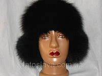 Меховая шапка -ушанка песец+кожа