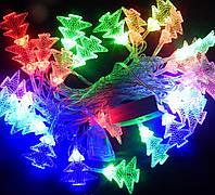 Гирлянда 40 LED  елочки, в ассортименте звезда, цветы, шары, сосульки