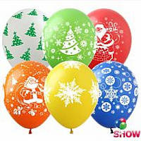 """Воздушные шарики """"Новогодний микс""""  шелкография 12"""" (30 см)  ТМ Show"""