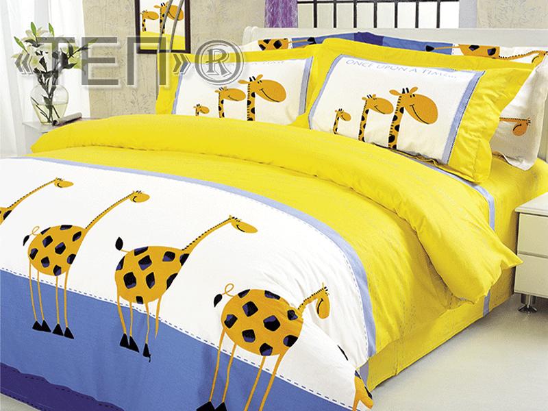 Семейный комплект постельного белья Жирафы