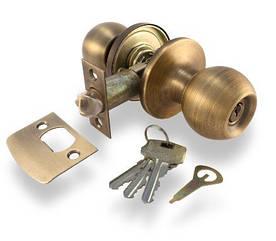 Ручка защелка Apecs 6072-01-AN с фиксацией+ключи (Антик)