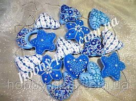 Авторский набор новогодних игрушек из фетра, 15 шт., цвет синий