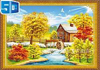 """Набор частичная вышивка крестом  """"Осенний домик у реки"""" 3D"""