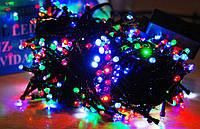 Диодная новогодняя гирлянда 300 лед ламп,черный провод(черный диод) 4 -х цветная микс, 15 метров