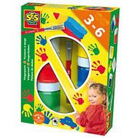 Пальчиковые краски - ЦВЕТНЫЕ ЛАДОШКИ (6 цветов в пластиковых баночках, кисточка). Арт. 0306S