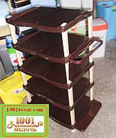 Этажерка пластиковая для обуви на 5-ть ярусов  Senyayla, коричневая