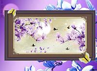 """Картина алмазной техники """"Фиолетовая веточка магнолии"""""""