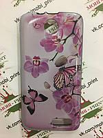 Чехол для Lenovo A526 (Бабочки и орхидеи)