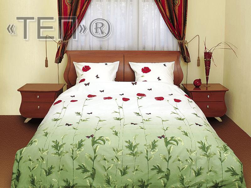 Евро комплект постельного белья Маки зеленые с бабочками