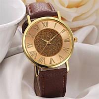 Наручные женские часы коричневые с золотом