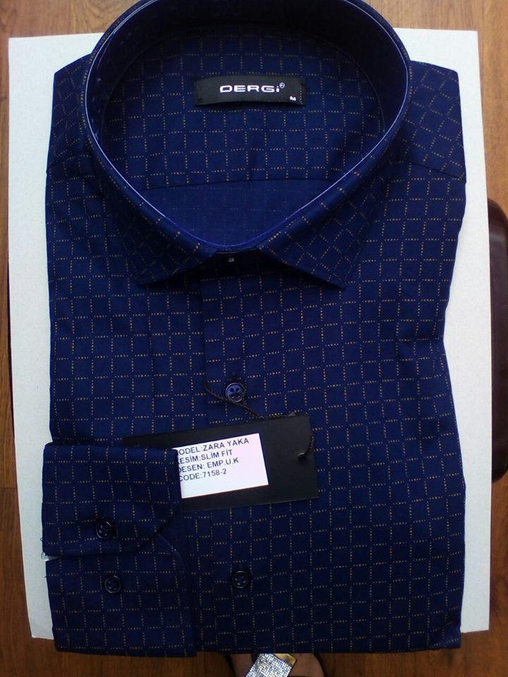 Элегантная Мужская рубашка DERGI с длинным рукавом приталенная, в норме код 7158-2