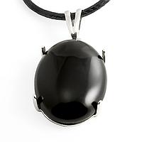 Агат черный, серебро 925, кулон