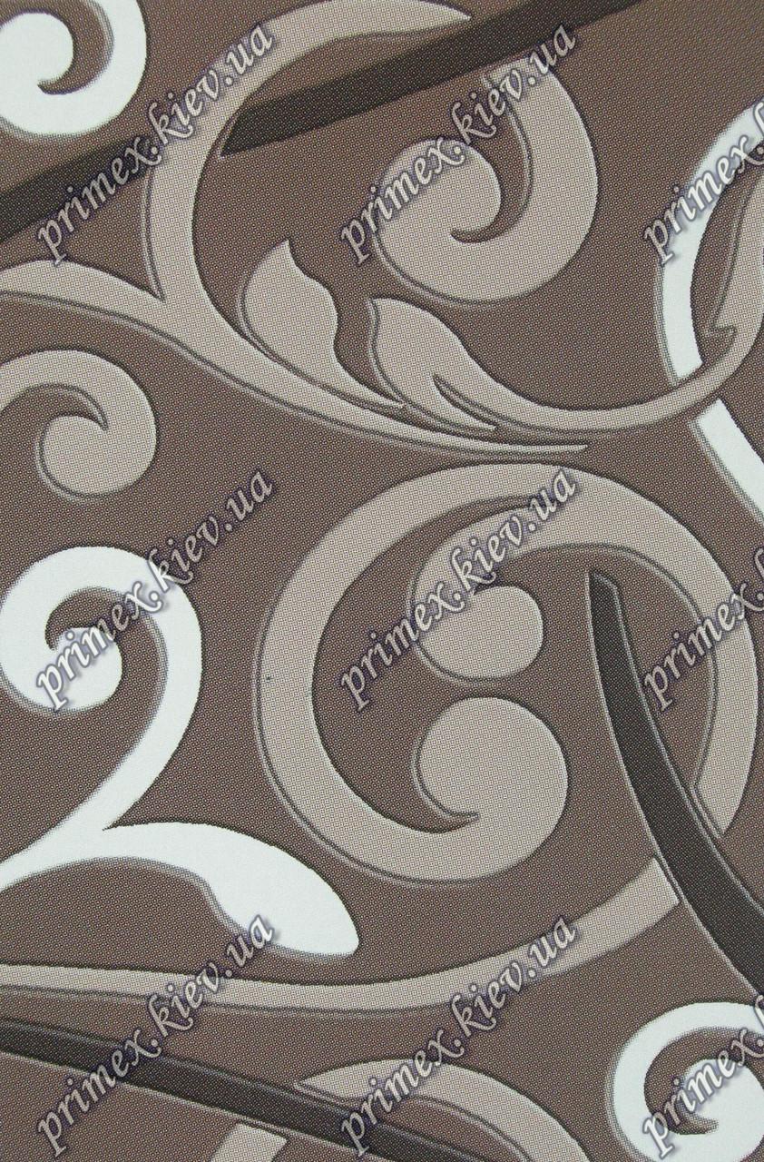 """Рельефный ковер, дорожка Берра """"Завитушки"""", цвет темно-коричневый"""