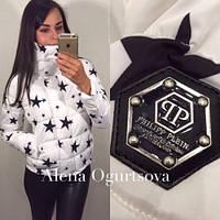 Куртка женская модная осень Звезды №2 белая