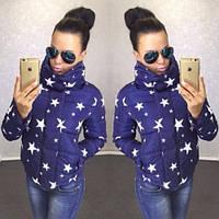 Куртка женская модная осень Звезды №2 синяя
