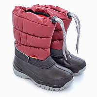 Сапоги-дутики на осень и зиму Demar Лакки черно-гранатовый р.25-35 обувь от непогоды для детей и подростков